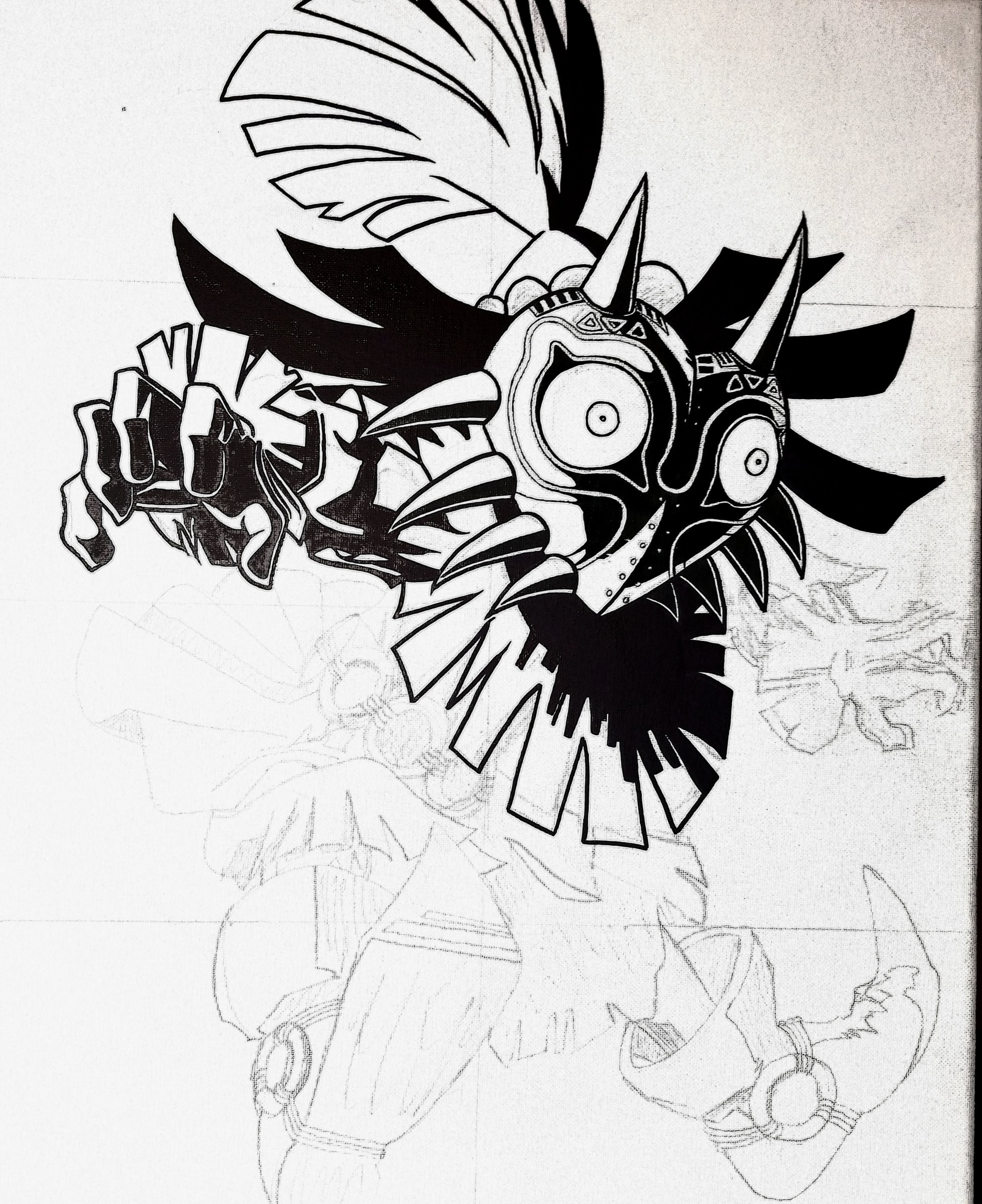 Skull Kid_Majora's Mask-16×20 Ink on Canvas